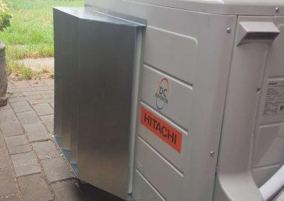 Custom Made Air Deflectors for narrow laneway unit installations Hitachi Skye Residential