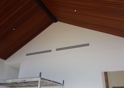 Linear Side Blow vents Theatre Room Cathedral ceilings Norwood